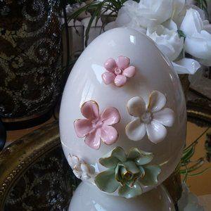 GLAZED Ceramic EGG GORGEOUS Porcelain FLOWERS
